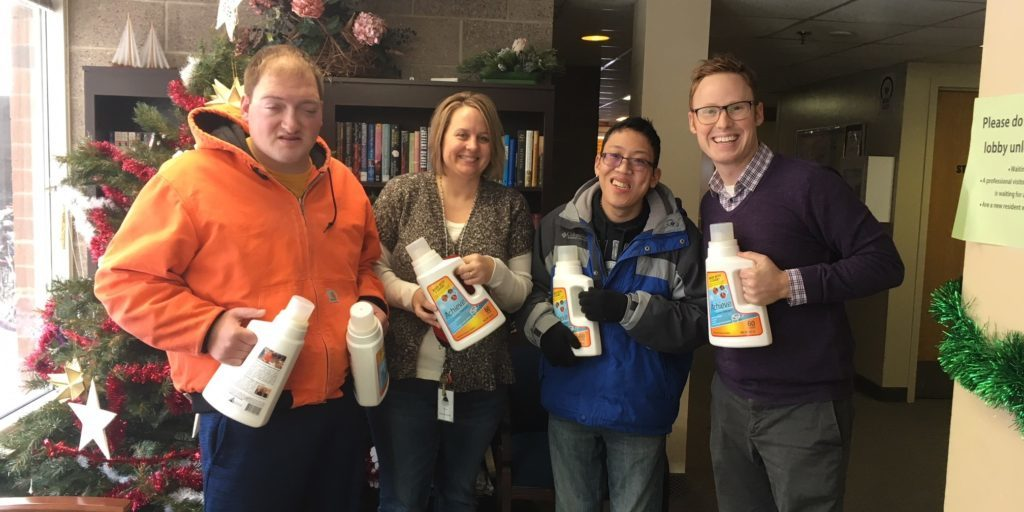 Delivering detergent to Stepping Stone Emergency Housing